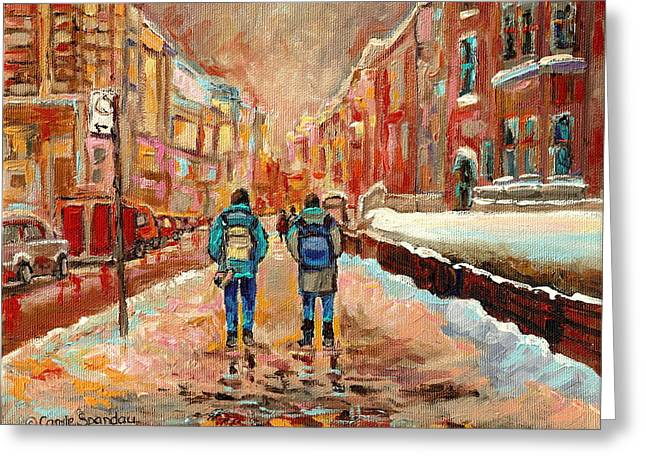 Puddle Paint Greeting Cards - Cityscape In Winter Greeting Card by Carole Spandau