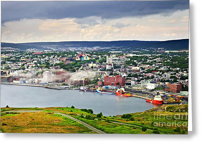 Ocean Panorama Greeting Cards - Cityscape of Saint Johns from Signal Hill Greeting Card by Elena Elisseeva