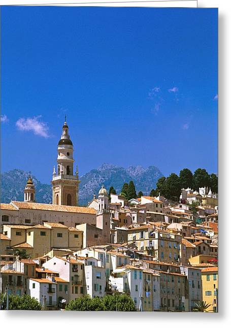 Cityscape With Church Bell Tower Greeting Card by Axiom Photographic
