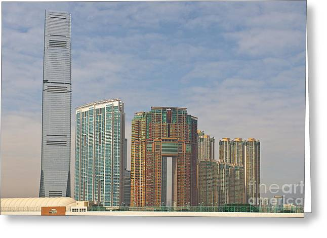 Kowloon Greeting Cards - Cityskyline with skyscrapers Greeting Card by Jacobs Stock Photography