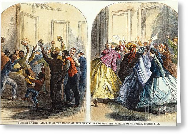 Civil Rights Greeting Cards - Civil Rights Bill, 1866 Greeting Card by Granger