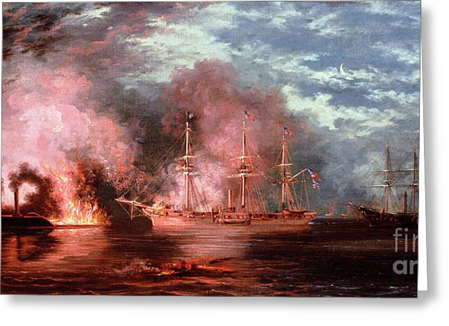 Historic Ship Paintings Greeting Cards - Civil War Engagement Greeting Card by Xanthus Russell Smith