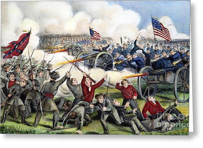 Confederate Flag Photographs Greeting Cards - Civil War: Gettysburg, 1863 Greeting Card by Granger