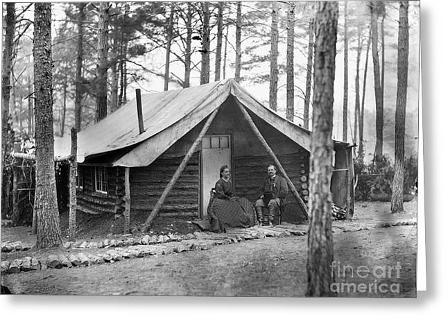 Log Cabin Photographs Greeting Cards - Civil War: Log Cabin, 1864 Greeting Card by Granger