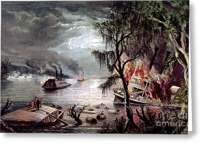 Civil War Time Greeting Cards - Civil War: Naval Battle Greeting Card by Granger