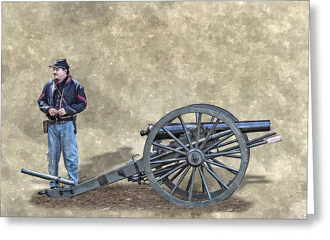 Battle Of Gettysburg Digital Art Greeting Cards - Civil War Union Artillery Corporal with Cannon Greeting Card by Randy Steele