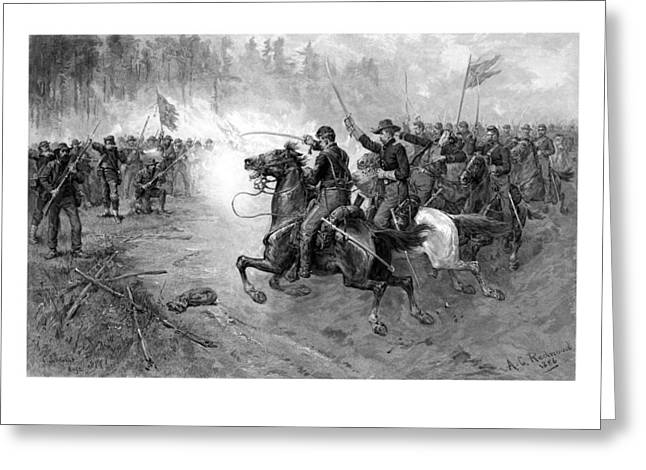 Civil Mixed Media Greeting Cards - Civil War Union Cavalry Charge Greeting Card by War Is Hell Store