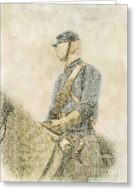 Civil War Union Cavalry Trooper Greeting Card by Randy Steele