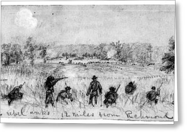War Drawing Greeting Cards - Civil War: Union Troops Greeting Card by Granger
