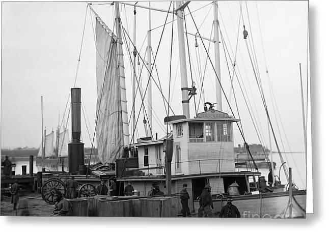 Sailboat Photos Greeting Cards - Civil War: Wharf, 1863 Greeting Card by Granger