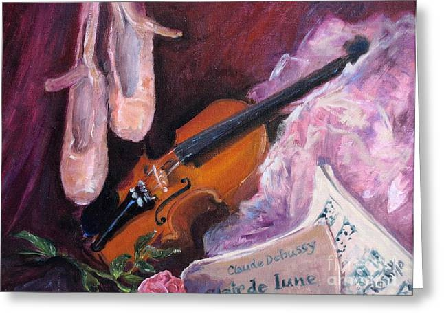 Dance Ballet Roses Paintings Greeting Cards - Clair de Lune Greeting Card by B Rossitto