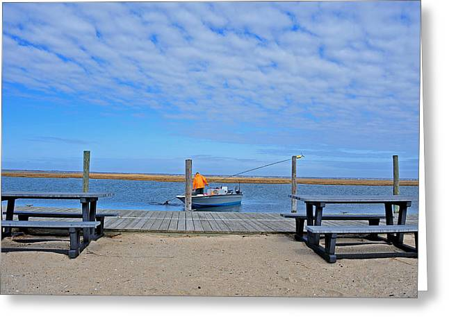 Clammer In The Bay Greeting Card by Dennis Clark