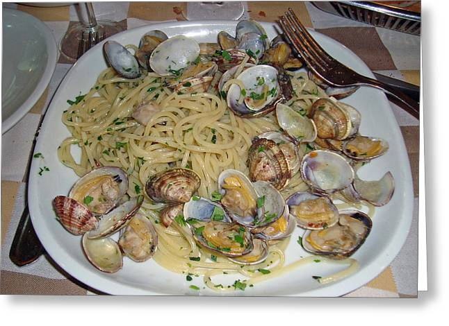 Italian Meal Greeting Cards - Clams and Linguini Greeting Card by David Rucker