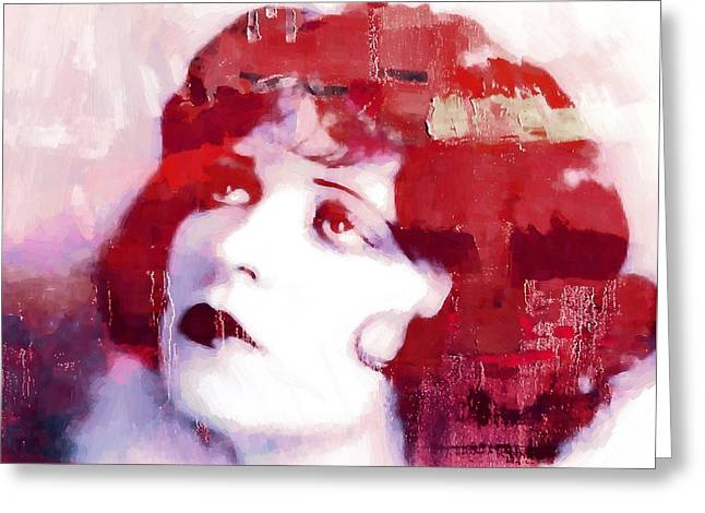 Silent Film Greeting Cards - Clara Bow Greeting Card by Stefan Kuhn