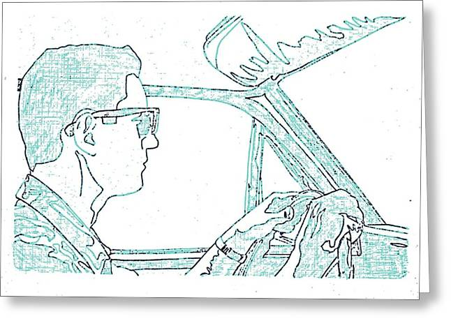 Driving Drawings Greeting Cards - Clarence Driving Blue Greeting Card by Sheri Parris