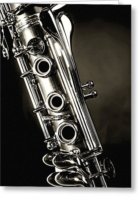 Canvas Wrap Greeting Cards - Clarinet Isolated in Black and White Greeting Card by M K  Miller