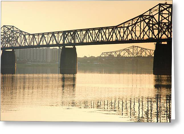 Indiana Photography Greeting Cards - Clark Memorial Bridge Greeting Card by Steven Ainsworth