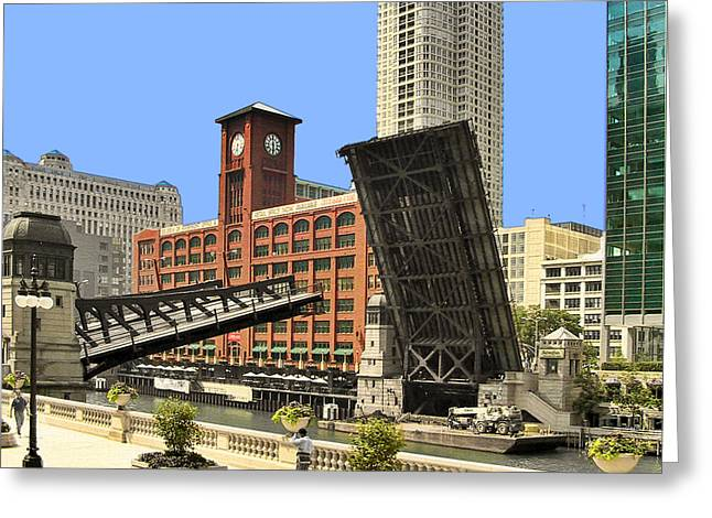 Drawn Greeting Cards - Clark Street Bridge Chicago - A contrast in time Greeting Card by Christine Till