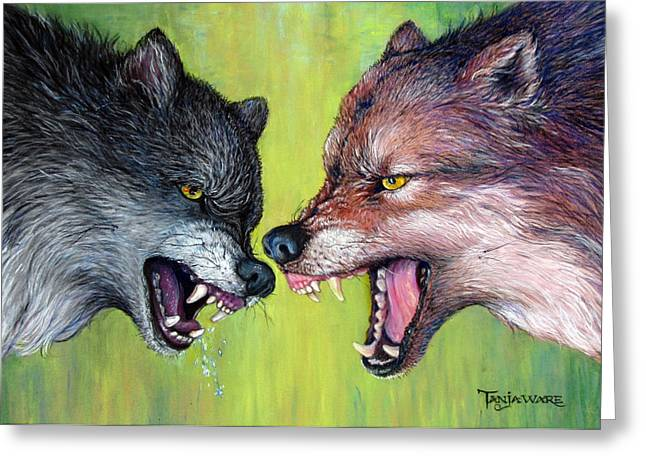 Wolf Pastels Greeting Cards - Clash of the Alphas Greeting Card by Tanja Ware