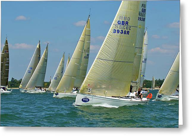 Isle Wight Festival Greeting Cards - Class 5 Yachts Racing Greeting Card by Gerry Walden
