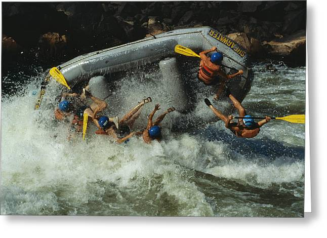 Inflatable Raft Greeting Cards - Class V Rapids Flip A Raft Full Greeting Card by Chris Johns