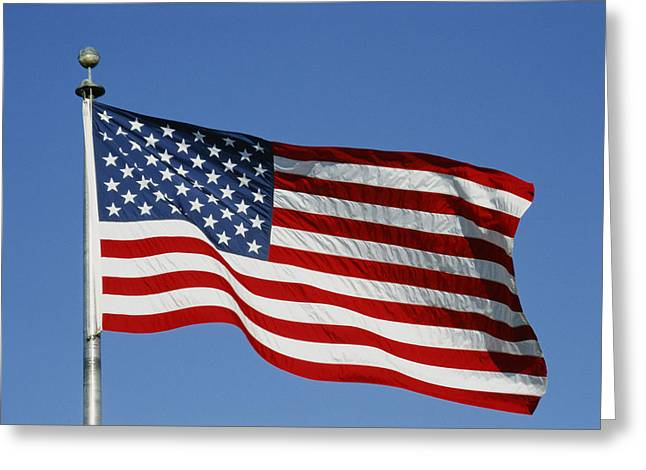 American National Flag Greeting Cards - Classic American Flag Blowing Greeting Card by Stephen St. John
