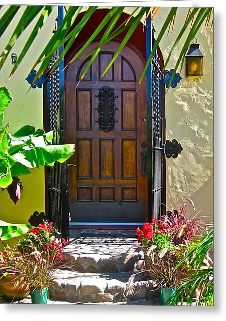 Ornate Door Greeting Cards - Classic Belmont Shore Greeting Card by Gwyn Newcombe