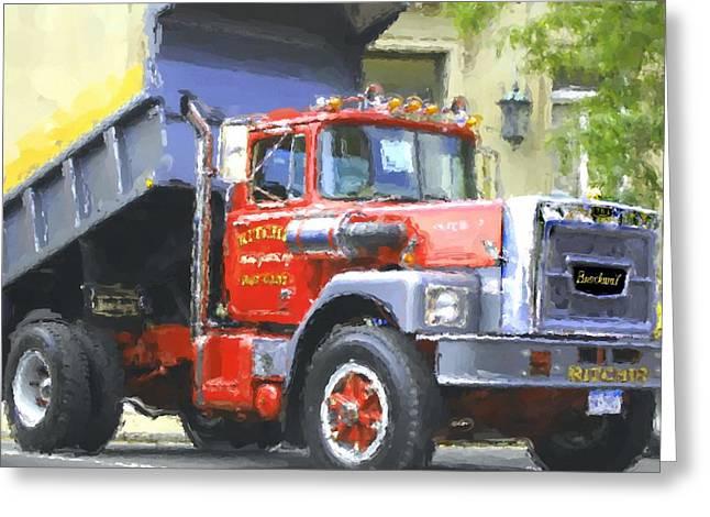 Dump Truck Greeting Cards - Classic Brockway Dump Truck Greeting Card by David Lane