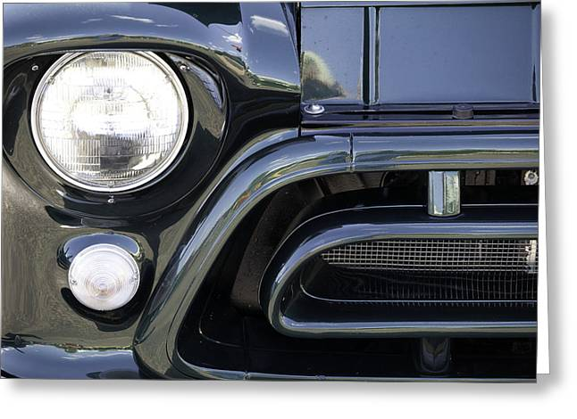 Classic Blue Pickup Truck Front End Greeting Card by M K  Miller