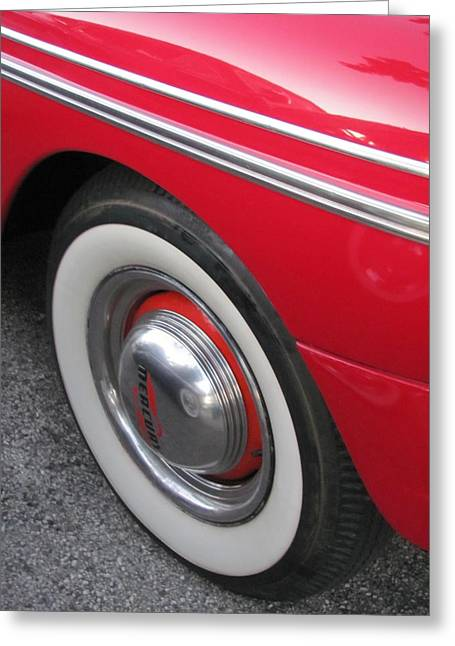 Classic Car Mercury Red 1 Greeting Card by Anita Burgermeister