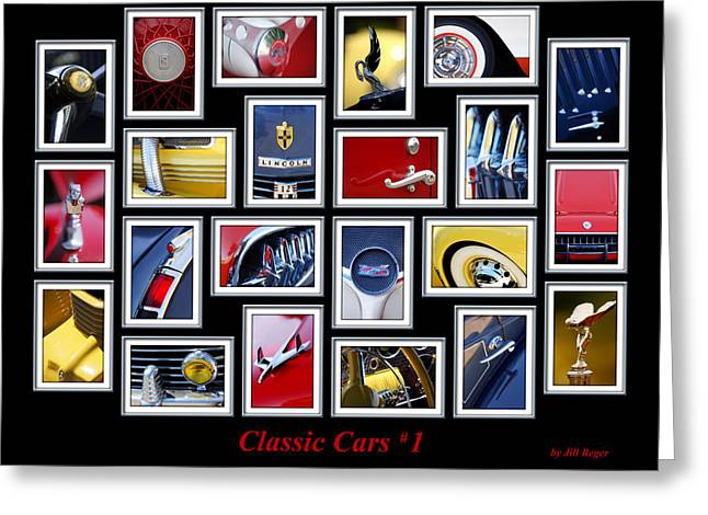 Blue Classic Car Greeting Cards - Classic Car Montage Art 1 Greeting Card by Jill Reger