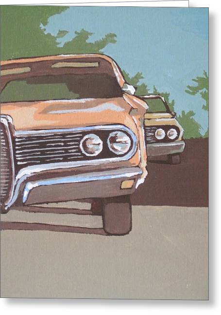 Classic Cars Greeting Card by Sandy Tracey