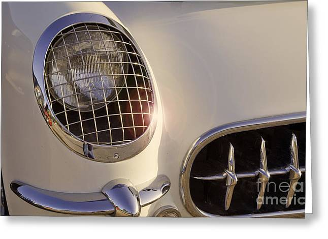 Matte Print Greeting Cards - Classic Carvette Headlight Greeting Card by M K  Miller