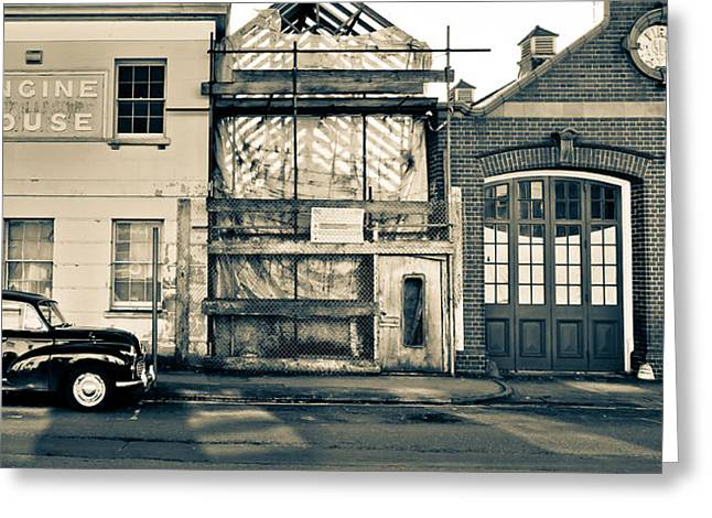 Engine House Greeting Cards - Classic Fire Cream Greeting Card by Justin Albrecht