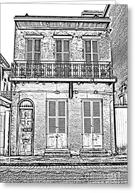 Photocopy Greeting Cards - Classic French Quarter Residence New Orleans Black and White Photocopy Digital Art Greeting Card by Shawn O
