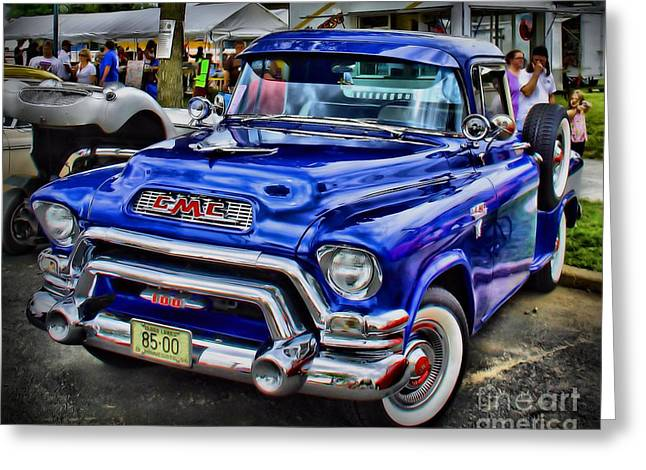 Blue Truck Greeting Cards - Classic GMC Greeting Card by Perry Webster