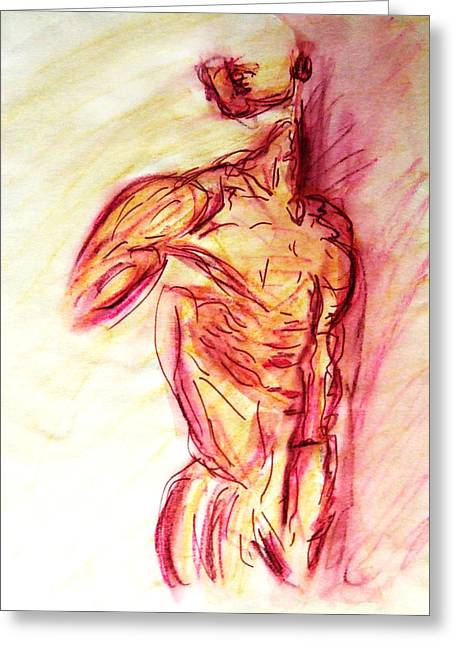 Renoir Drawings Greeting Cards - Classic Muscle Male Nude Looking Over Shoulder Sketch in a Sensual Primal Erotic Timeless Master Art Greeting Card by M Zimmerman