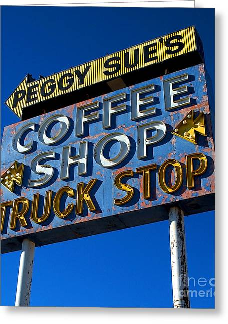 Drive In Style Greeting Cards - Classic Neon Coffee Shop Greeting Card by Frank Short