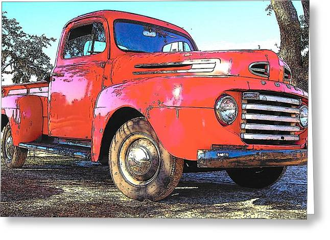 1956 Ford Truck Greeting Cards - Classic Red Truck Greeting Card by Rebecca Brittain