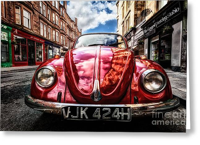 Hdr Look Greeting Cards - Classic VW on a Glasgow Street Greeting Card by John Farnan
