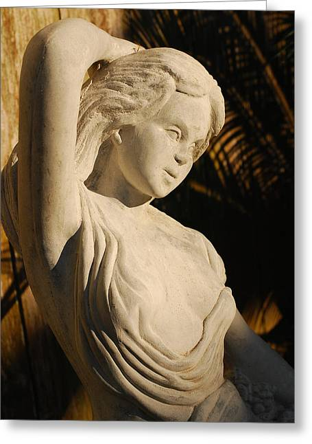 Garden Statuary Greeting Cards - Classical Beauty Basking in Golden Light Greeting Card by Connie Fox