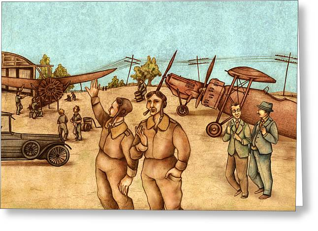 Retro Art Greeting Cards - Classical Planes 2 Greeting Card by Autogiro Illustration