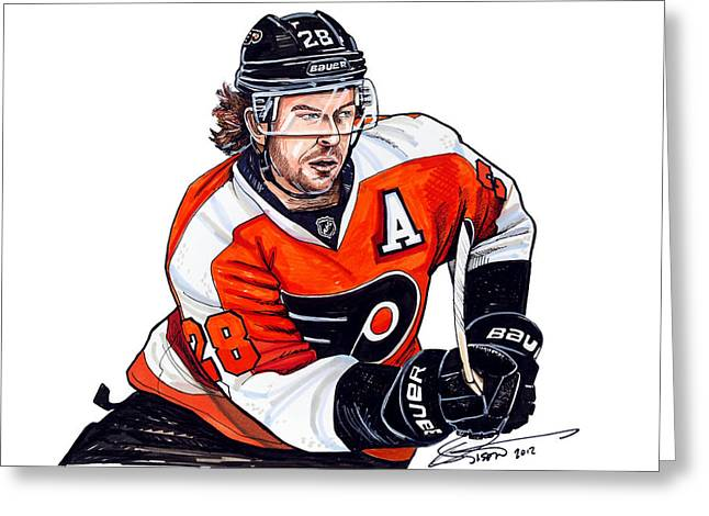 Philadelphia Flyers Drawings Greeting Cards - Claude Giroux Greeting Card by Dave Olsen