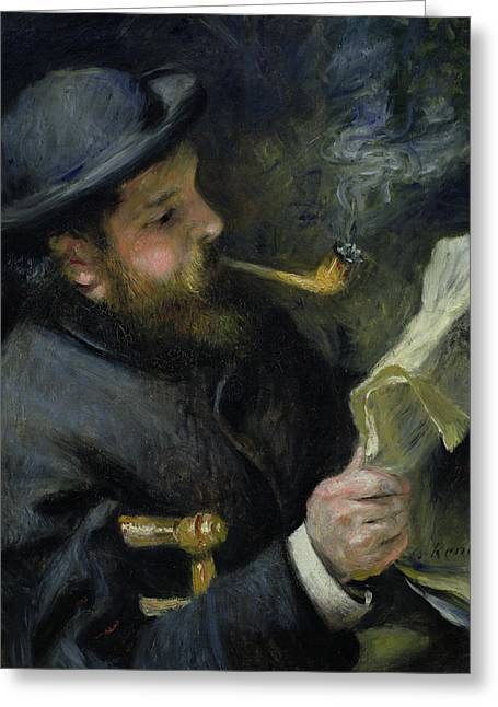 Smoker Greeting Cards - Claude Monet reading a newspaper Greeting Card by Pierre Auguste Renoir