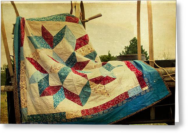 Heritage Quilts Greeting Cards - Claudes Centennial Quilt Greeting Card by Toni Hopper