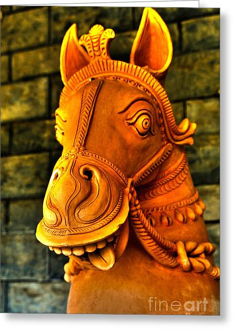 Wall Art For Your Home Or Office Greeting Cards - Clay Horse Greeting Card by Cheryl Young