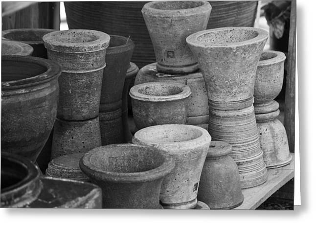 Ceramic Glazes Greeting Cards - Clay Pots BW Greeting Card by Teresa Mucha