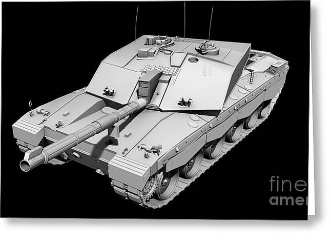 Challenger Model Greeting Cards - Clay Render Of A Challenger Ii Tank Greeting Card by Rhys Taylor