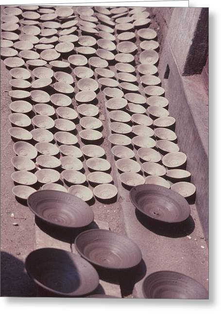Hand Thrown Pottery Greeting Cards - Clay Yogurt Cups Drying In The Sun Greeting Card by David Sherman
