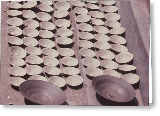 Clay Yogurt Cups Drying In The Sun Greeting Card by David Sherman